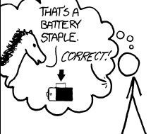 Panel from an xkcd comic about password strength.