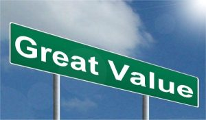 "A road sign containing the words ""great value"""